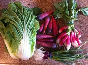Organic, locally grown vegetables