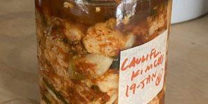 jar of cauliflower kimchi